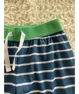 Carters Boys Blue White Striped Green Cloth Waist Band Pajama Pants 7 - $7.38