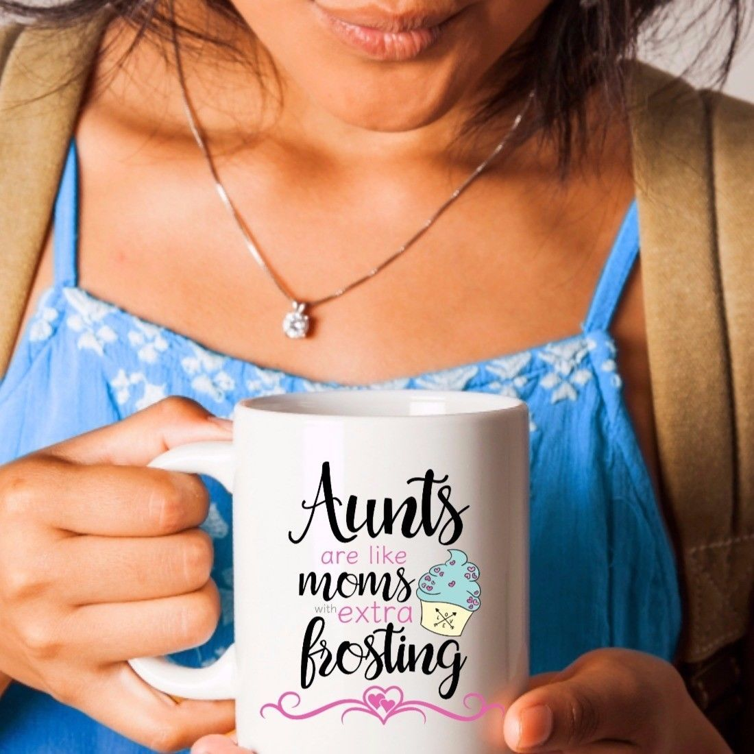Aunt Gift Coffee Mug Aunts are Like Moms with Extra Frosting Ceramic White 11oz