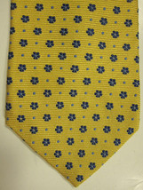 NEW Brooks Brothers Golden Yellow With Blue Florets Neck Tie USA - $37.49