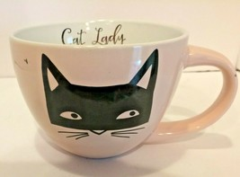 Large Cat Lady Pale Pink with Black Cat Coffee, Tea or Soup Mug - $19.75