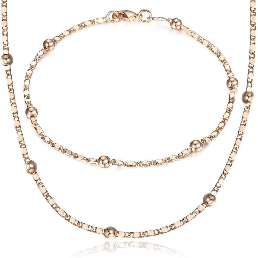 Thin 585 Rose Gold Jewelry Set for Women Marina Bead Link Chain Bracelet Necklac - $16.58