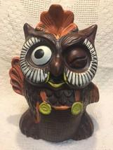 Vintage 1960s Brown Winking Waving Owl Cookie Jar Kitchen Decor - $39.27