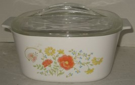 Vintage Corning Ware Wildflowers 3 Liter Casserole Dish with Pyrex Glass... - $18.81