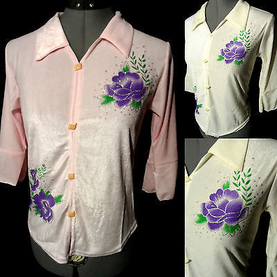 Nwt Stretch fit Dress Shirt JrSML Pink Ivory Glittered Roses top Pullover Blouse