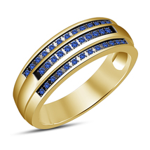 Engagement Ring W/ Round Cut Blue Sapphire Solid Sterling Silver 14k Gold Plated - £57.98 GBP