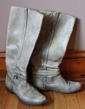 Frye 6.5 B Shirley Riding Plate Stone Wash Leather Tall Pull On Boot 77754 - $77.90