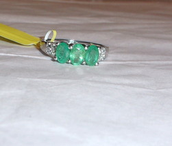 AFRICAN GREEN EMERALD OVAL & WHITE ZIRCON 3-STONE RING, SILVER, SIZE 7, 1.48(TCW - $89.99