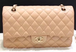 Authentic Chanel Beige Quilted Lambskin Medium Classic Double Flap Bag GHW