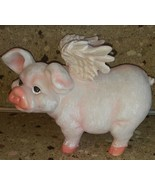WHEN PIGS FLY  Resin Pink Pig with Wings Flying Angelic - $29.69