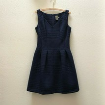 Taylor Navy Blue Jacquard Fit and Flare Dress Sleeveless Womens Size 12 NEW - $26.25