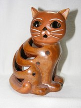"""Ceramic Cat Votive Candle Holder 7"""" Tall Brown Hand Painted  New no Box - $29.95"""
