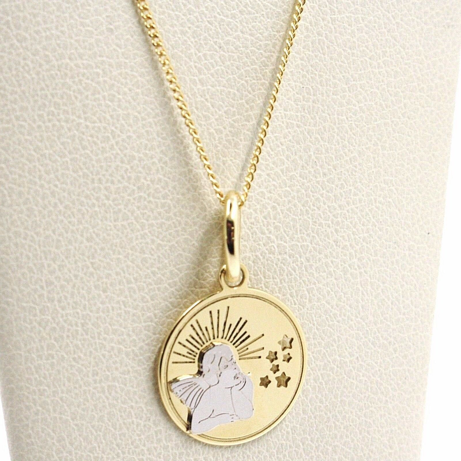 White Yellow Gold Necklace 18k, Chain Mini grumette, Medal Angel, Stars