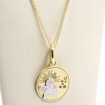 White Yellow Gold Necklace 18k, Chain Mini grumette, Medal Angel, Stars image 1