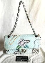Vintage CHANEL Authentic Matelasse Flower Cotton Flap Chain shoulder Bag... - €1.448,73 EUR