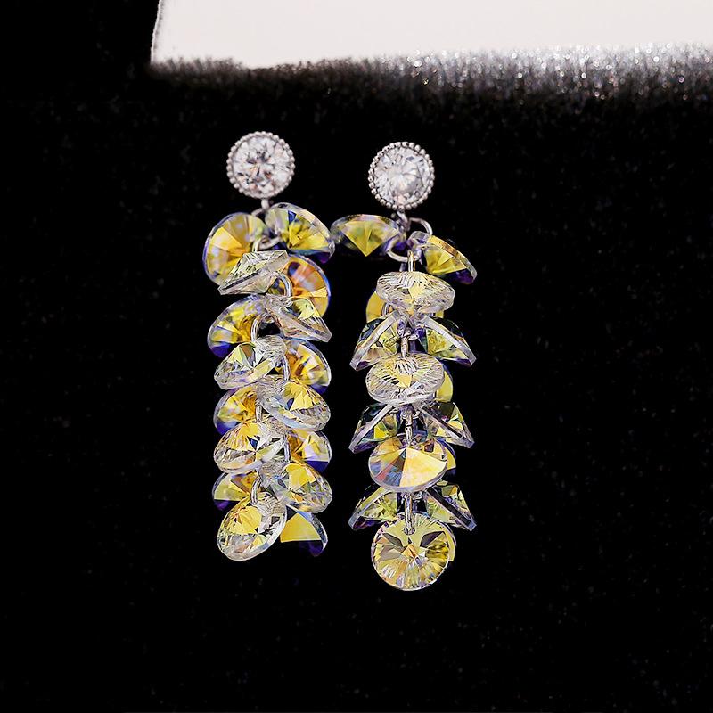 BAFFIN Luxury Tassel Crystals From SWAROVSKI Drop Earrings Women Wedding Party F