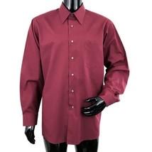 Van Heusen Wrinkle Free Mens XL Solid Burgundy Poplin Long Sleeve Shirt  - $33.56