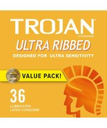 Trojan Ultra Ribbed Premium Lubricated Condoms - 36 Count+ - $21.73