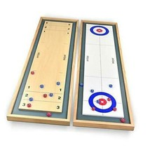 GoSports Shuffleboard and Curling 2 in 1 Table Top Board Game with 8 Rollers - - $57.49