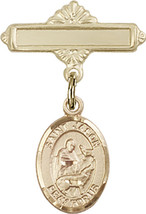 14K Gold Baby Badge with St. Jason Charm and Polished Badge Pin 1 X 5/8 inch - $416.46