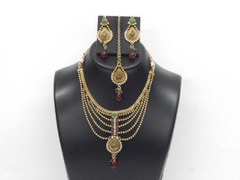 Indian Polki Fashion Jewelry Necklace Set Ethnic Gold Plated Traditional Set - $16.83