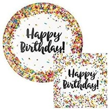 "Creative Converting Sprinkles Birthday 9"" Plates (16) Napkins (16) Par - $25.99"