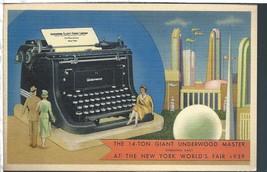 Giant Underwood Typewriter New York World's Fair Postcard Linen Colourpi... - $5.45