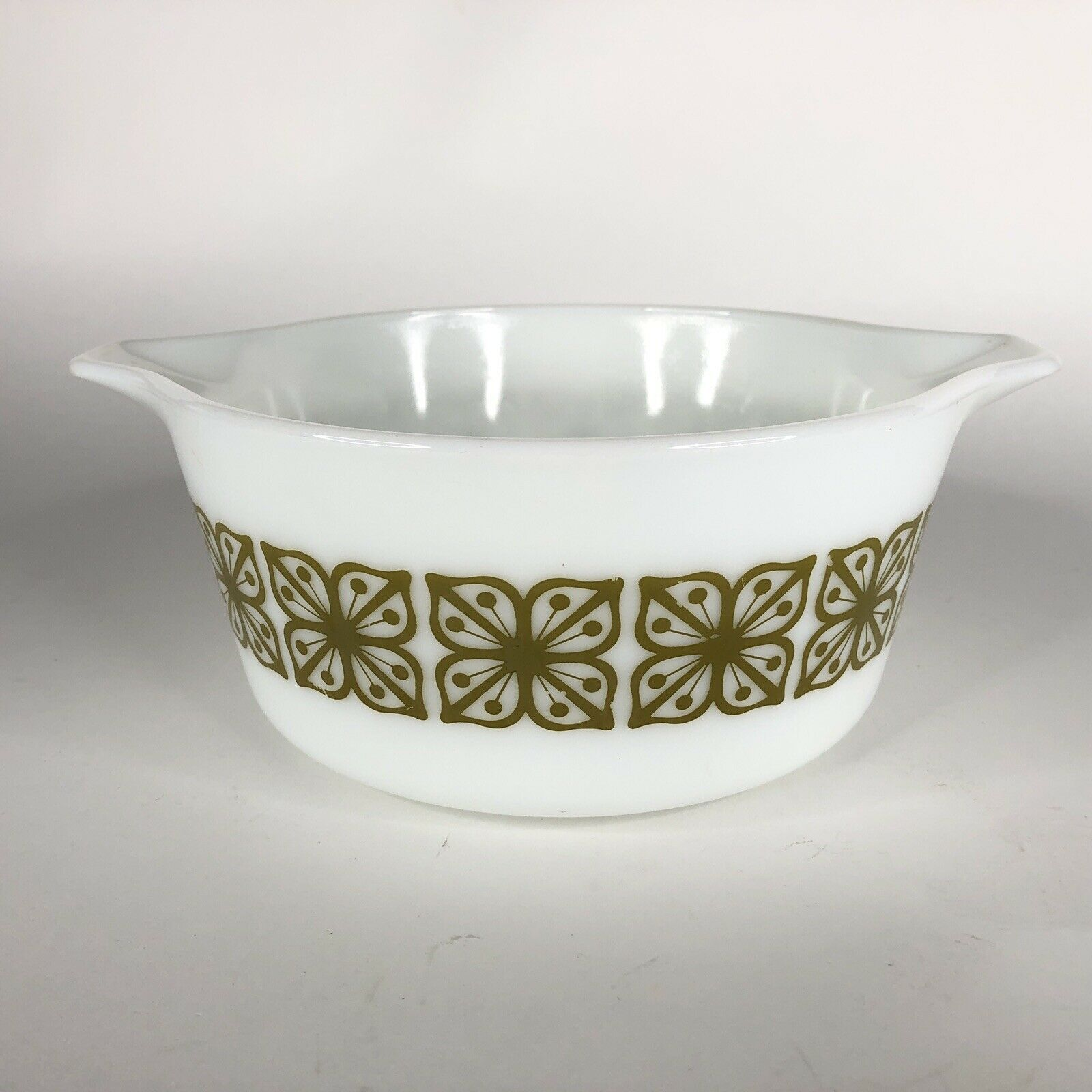 Pyrex Verde Square Green Flower Casserole Dish 474 B Covered Baking 1.5 Quart QT image 2