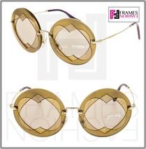 MIU MIU Overlapping Game 01S Hazelnut Beige Mirror Round Heart Sunglasses Mu01SS - $220.08