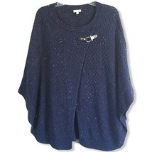 Talbots Womens Navy Speckled Sweater Pullover Poncho Size Small Medium - $20.00