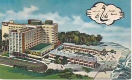 Hotel di Lido Miami Beach Florida FL Postcard Linen Colourpicture - $3.34