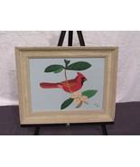 Leather 3D Wall Art Marjorie Decker Framed Cardinal in Tree 12 By 15 - $18.63