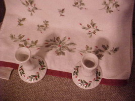 Vintage LENOX Holly Berry Candlesticks Candle Holders (2) - Holly Dish T... - $14.95