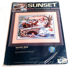 Sunset Cross Stitch Wintry Ride Horse Sleigh Ride Sunset No. 13108 Stamped Cross image 2