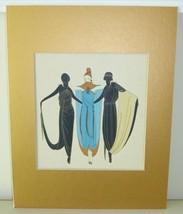 Erte Gouache Superb Fashion Design Painting on Stiff Paper - $1,499.00