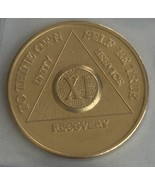 11 Year Alcoholics Anonymous AA 24k Gold Plated Medallion Chip Sobriety Coin - $16.66