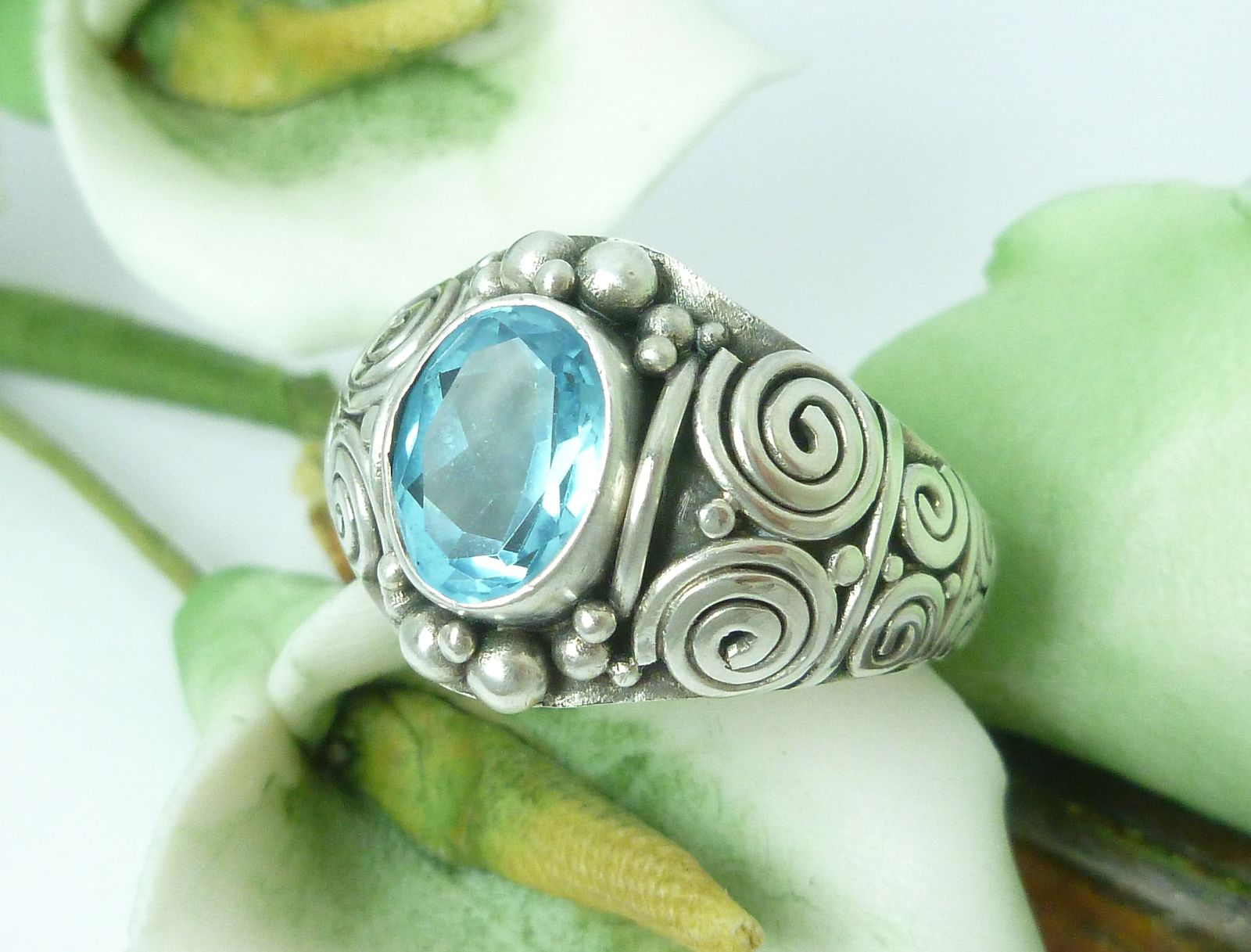 Artisan Crafted Sterling Blue Topaz Ring size 7
