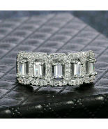 3.45Ct Baguette Cut Diamond Half Eternity Engagement Ring 925 Sterling S... - $80.19