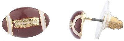 Primary image for Lux Accessories Goldtone Brown White Enamel Football Sports Post Earrings