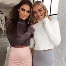 6 Colors Fashion Women Slim Sexy High Collar Fuzzy Mohair Fur Crop Top Shirt