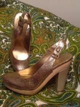 Nine West Popgoes 7.5M Chunky Platform Heels Women Shoes Cleopatra Gold Bronze - $42.56