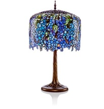 Tiffany Inspired Grand Wisteria Table Lamp w/Tree Trunk Base 11410  image 1