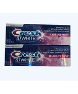Crest 3D White Whitening Toothpaste, Radiant Mint - 3.0 oz Lot Of 2 NEW - $8.17