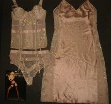 Victoria's Secret 32B,32C garter CORSET bustier+thong+SLIP gown BROWN gold foil - $169.99