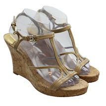MICHAEL KORS Womens Beige Leather Strappy Cork Wedge Sandals Size 9 M - $25.98