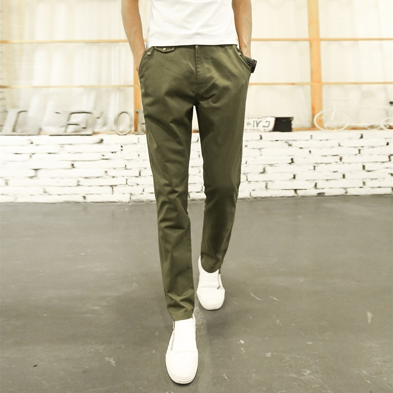 Men Casual Loose Straight Pants Solid Color Trousers for Men image 3