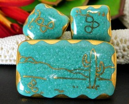 Southwestern Desert Brooch Pin Earrings Set Ariglo Handmade Ceramic - $29.95