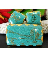 Southwestern Desert Brooch Pin Earrings Set Ariglo Handmade Ceramic - $36.95