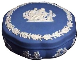 WEDGWOOD AESCULAPIUS Round Scalloped Trinket Box BLUE JASPERWARE ENGLAND - $69.29