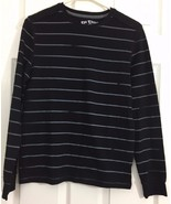 Epic Threads Long Sleeve Tee Knit Pullover T Shirt Black Gray Stripes Bo... - $9.85