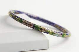 "7"" VINTAGE ESTATE CHINESE EXPORT COBALT BLUE CLOISONNE ENAMEL BANGLE BRA... - $10.00"